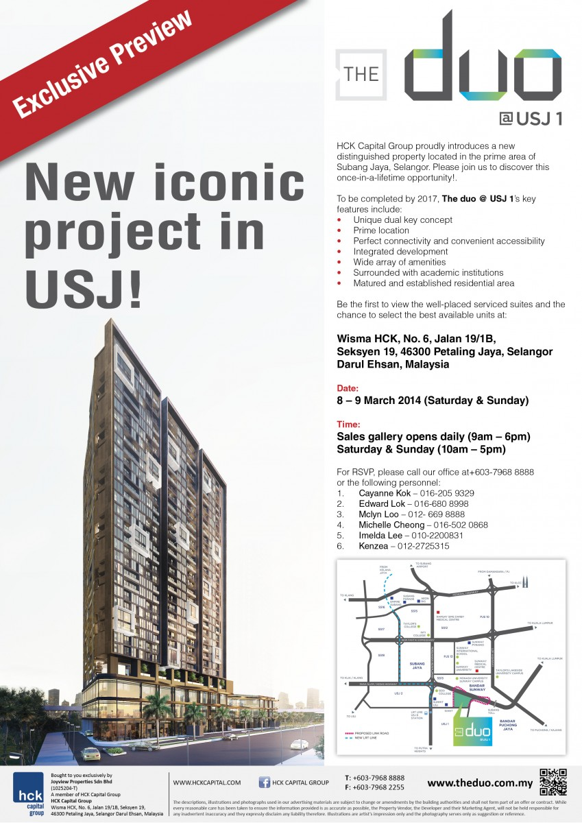 HCK Capital Groups New Project The Duo At USJ Tan Sri Clement Hii - Usj 1 location map