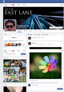 A screen capture of my Facebook page